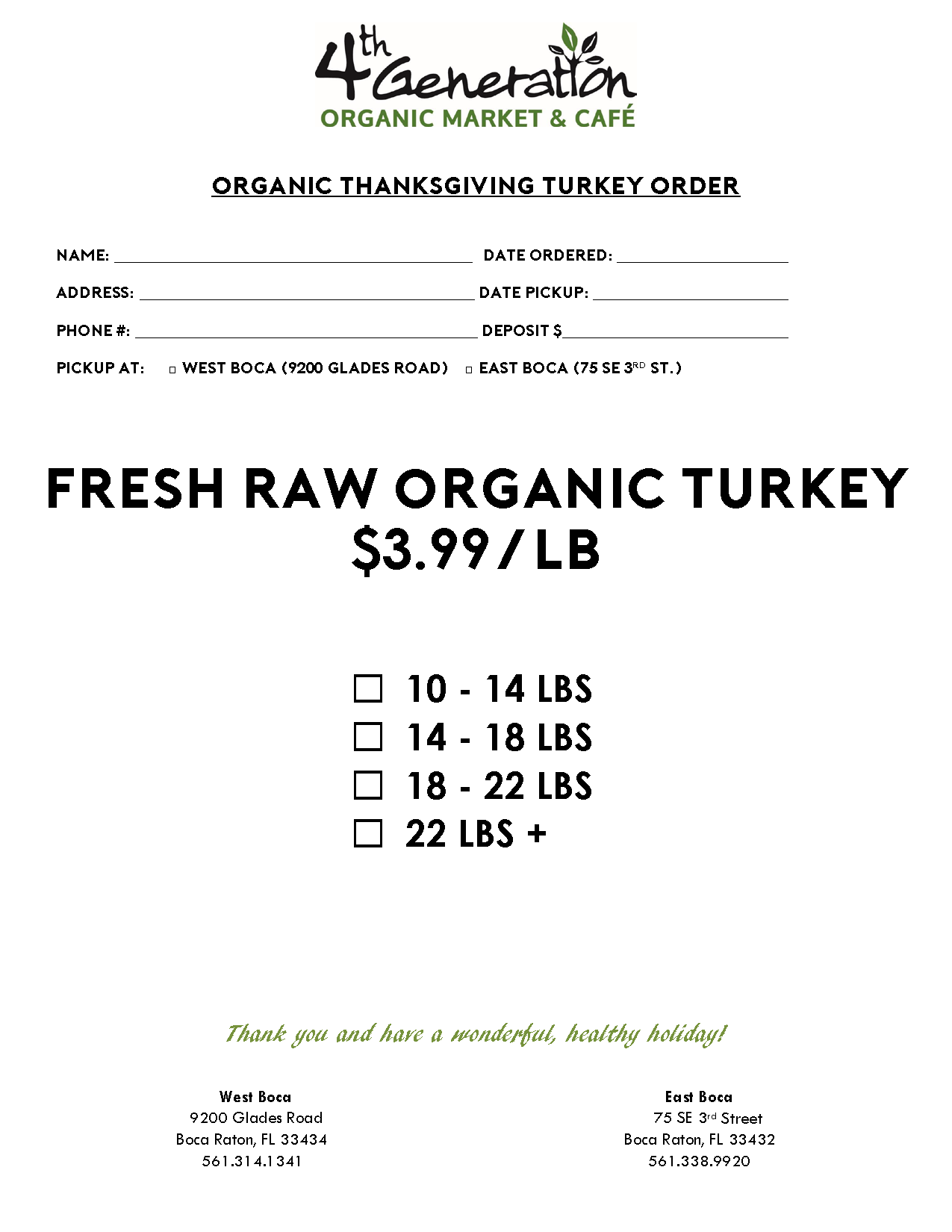 Organic Thanksgiving Turkey Menu
